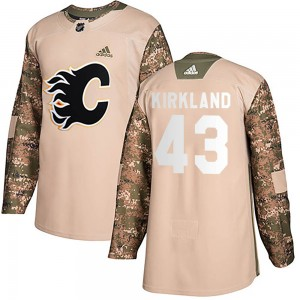 Justin Kirkland Youth Adidas Calgary Flames Authentic Camo Veterans Day Practice Jersey