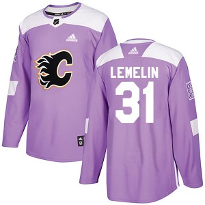 Rejean Lemelin Men's Adidas Calgary Flames Authentic Purple Fights Cancer Practice Jersey