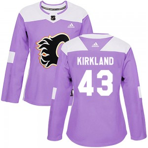 Justin Kirkland Women's Adidas Calgary Flames Authentic Purple Fights Cancer Practice Jersey